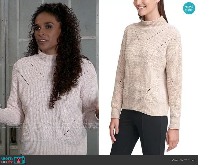 Chenille Mock-Neck Pointelle Sweater by Calvin Klein worn by Jordan Ashford (Briana Nicole Henry) on General Hospital