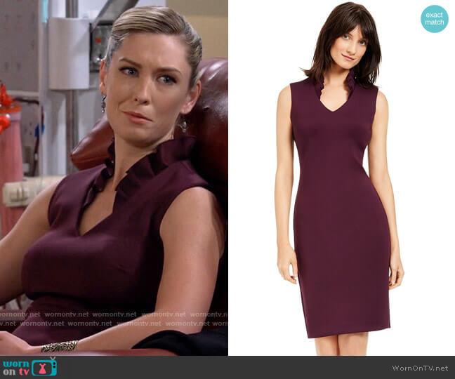Calvin Klein Ruffled-Collar Scuba Sheath Dress worn by Samantha (Briga Heelan) on B Positive