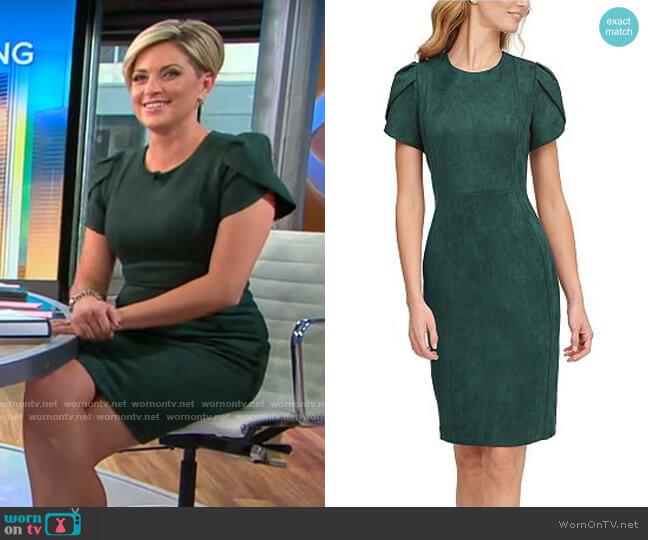 Calvin Klein Scuba-Crepe Faux-Suede Tulip-Sleeve Sheath Dress worn by Jamie Yuccas  on CBS Mornings