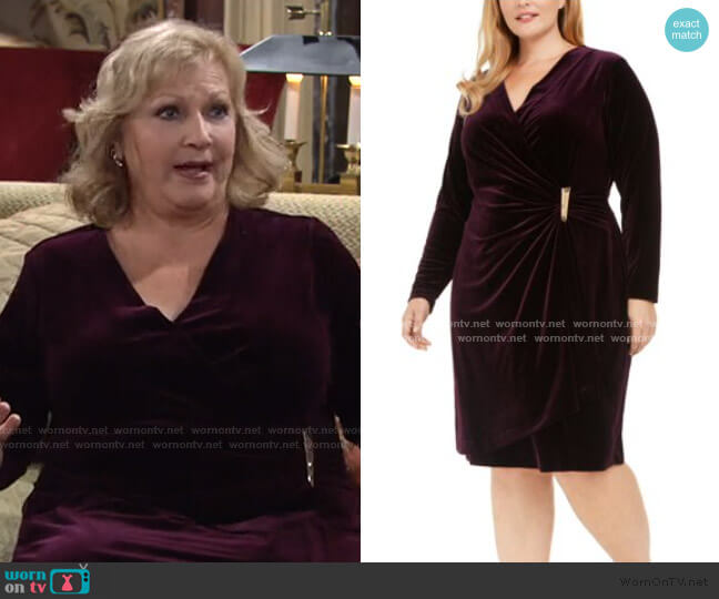 Velvet Wrap Sheath Dress by Calvin Klein worn by Traci Abbott (Beth Maitland) on The Young & the Restless