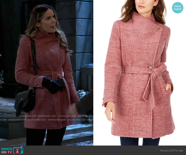 Calvin Klein Belted Toggle Wrap Coat worn by Sasha Gilmore (Sofia Mattsson) on General Hospital