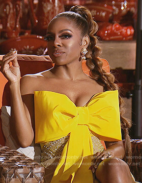 Karen's yellow embellished reunion dress on The Real Housewives of Potomac
