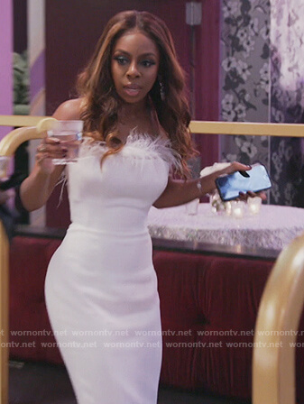 Candiace's white feather trim dress on The Real Housewives of Potomac