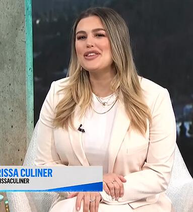 Carissa's white fringe blazer and pants on E! News Daily Pop