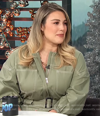 Carissa's green utility jumpsuit on E! News Daily Pop