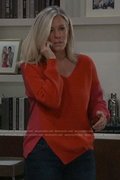 Carly's red colorblock sweater on General Hospital