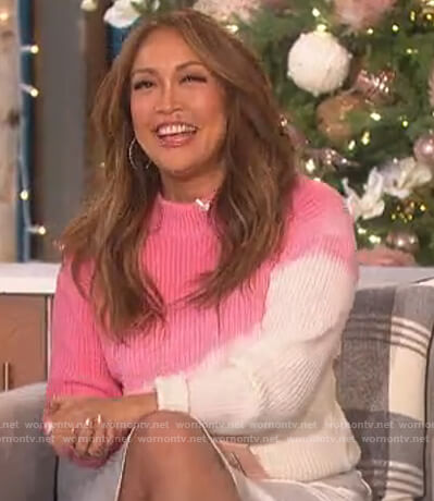 Carrie's pink tie dye sweater on The Talk