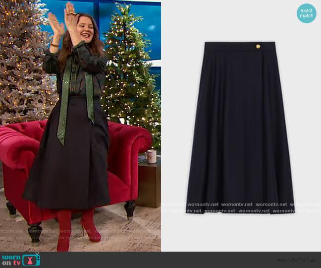 Midi Skirt in Wool Flannel by Celine worn by Drew Barrymore  on The Drew Barrymore Show