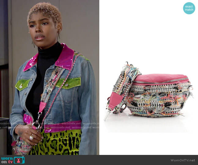 Chanel Convertible Waist Bag Tweed with Quilted Leather worn by Paris Buckingham (Diamond White) on The Bold & the Beautiful
