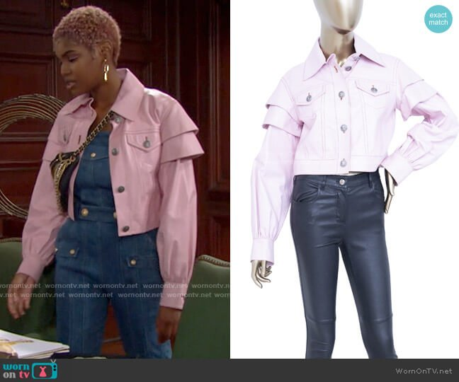 Chanel Vintage Light Pink Leather Jacket worn by Paris Buckingham (Diamond White) on The Bold & the Beautiful