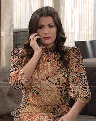 Chelsea's animal print mock neck dress on The Young and the Restless