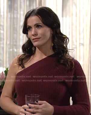 Chelsea's brown one-shoulder sweater on The Young and the Restless