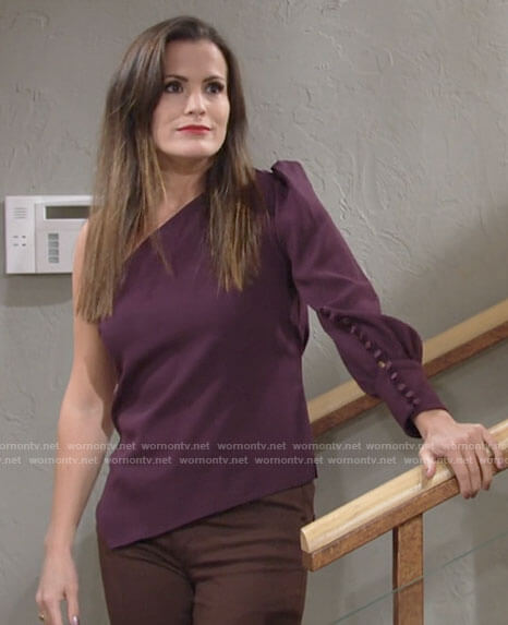 Chelsea's purple one-shoulder top on The Young and the Restless