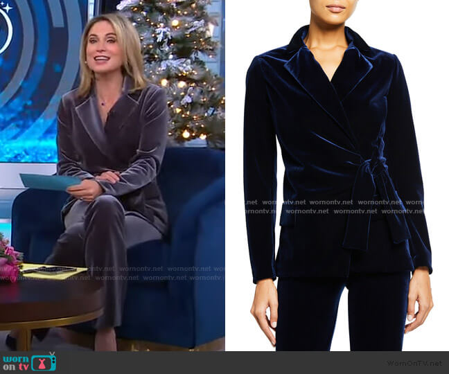Karin Collared Velvet Jacket by Chiara Boni La Petite Robe worn by Amy Robach  on Good Morning America