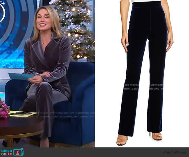 Venusette Velvet Flare-Leg Pants by Chiara Boni La Petite Robe worn by Amy Robach  on Good Morning America