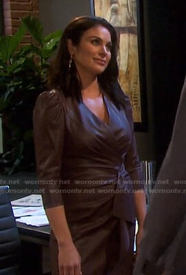 Chloe's brown leather wrap dress on Days of our Lives