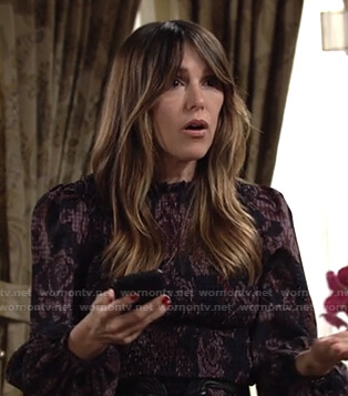 Chloe's floral print smocked mini dress on The Young and the Restless