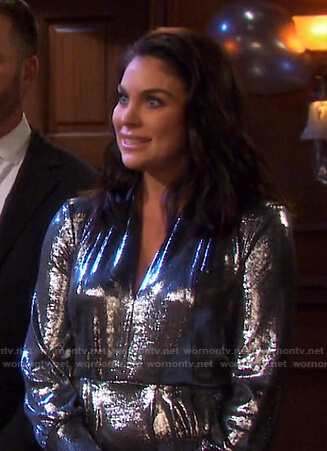 Chloe's metallic v-neck dress on Days of our Lives