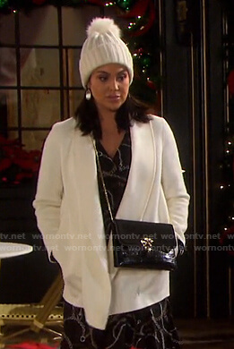 Chloe's white shawl collar coat on Days of our Lives
