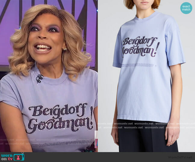 Crystal-Embellished Logo Top by Christopher John Rogers worn by Wendy Williams  on The Wendy Williams Show