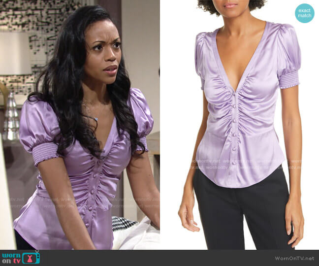 Eugenia Silk Satin Ruched Top by Cinq a Sept worn by Amanda Sinclair (Mishael Morgan) on The Young & the Restless