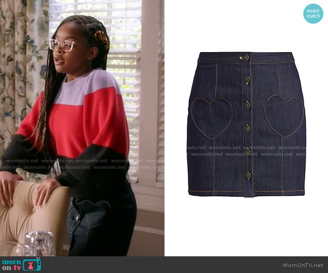 Vivien Heart Pocket Denim Skirt by Cinq a Sept worn by Diane Johnson (Marsai Martin) on Blackish