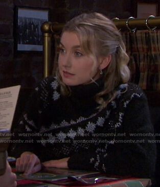 Claire's black fair isle turtleneck sweater on Days of our Lives