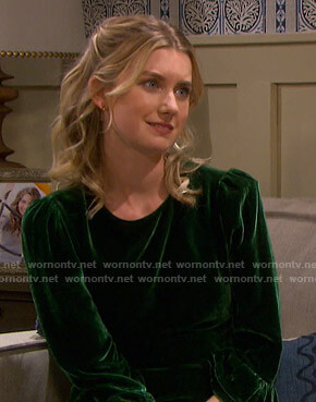 Claire's green velvet dress on Days of our Lives