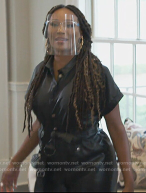 Cynthia's black leather jumpsuit on The Real Housewives of Atlanta