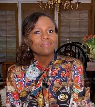 Deborah's mixed print tie neck blouse on Good Morning America
