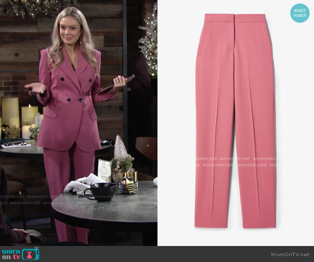 Flat Front Relaxed Stretch Crepe Trouser by Derek Lam worn by Abby Newman (Melissa Ordway) on The Young & the Restless