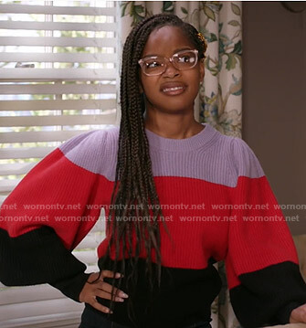 Diane's colorblock balloon sleeve sweater on Black-ish