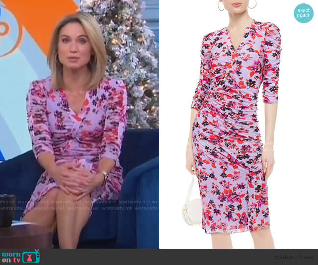 Brendon Ruched Floral-Print Stretch-Mesh Dress by Diane von Furstenberg worn by Amy Robach  on Good Morning America