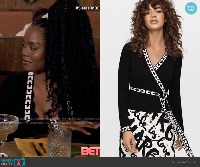 Diane von Furstenberg Kady Knit Wrap Top worn by Sabrina Hollins (Novi Brown) on Tyler Perrys Sistas