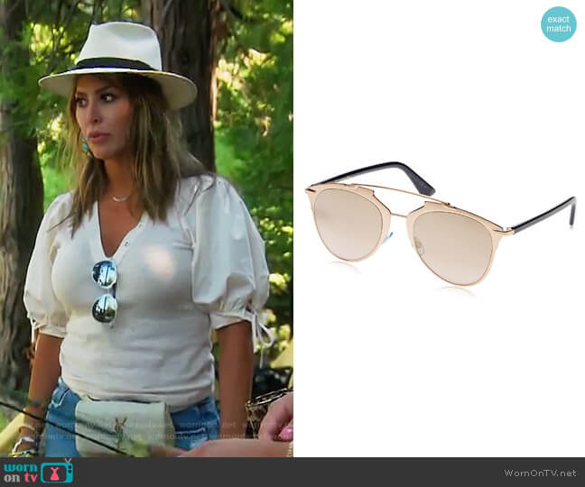 Reflected/S 321 Copper Gold Mirror Lens Sunglasses by Dior worn by Kelly Dodd  on The Real Housewives of Orange County