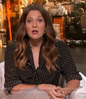 Drew's geometric print tie neck blouse on The Drew Barrymore Show