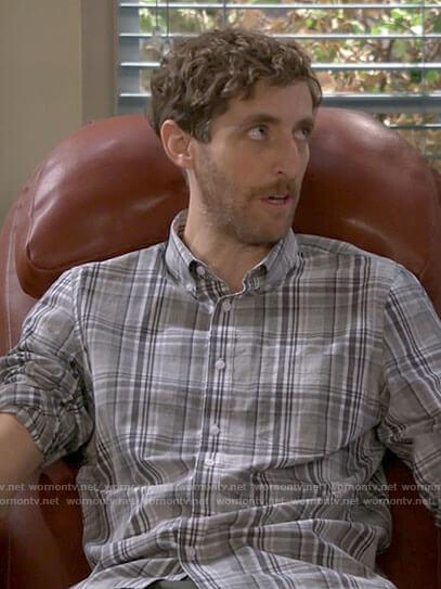 Drew's grey plaid shirt on B Positive