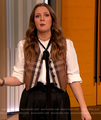 Drew's plaid vest on The Drew Barrymore Show