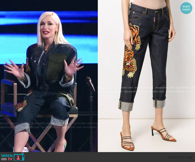 Cropped Tiger Embroidered Jeans by Dsquared2 worn by Gwen Stefani  on The Voice