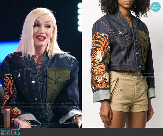 Tiger Print Denim Jacket by Dsquared2 worn by Gwen Stefani  on The Voice