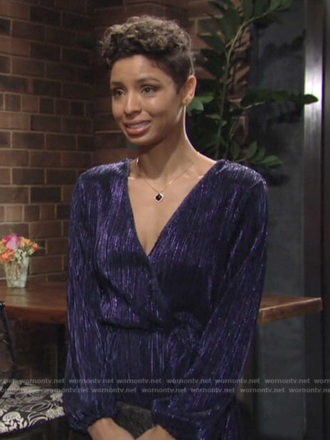 Elena's blue metallic wrap dress on The Young and the Restless
