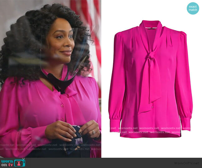 Percy Tie Silk Blouse by Elie Tahari worn by Lola Carmichael (Simone Missick) on All Rise