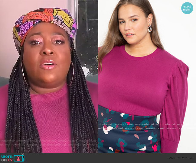 Puff Sleeve Sweater by Eloquii worn by Loni Love  on The Real