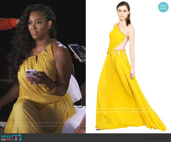 Yellow Draped Viscose Jersey Dress with Chain by Emilio Pucci worn by Kenya Moore  on The Real Housewives of Atlanta