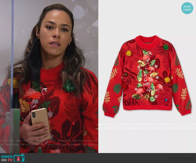 Flamingo Christmas Tree Graphic Pullover Sweater by Target worn by Emily Lopez (Jessica Camacho) on All Rise