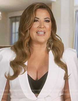 Emily's white cape mini dress on The Real Housewives of Orange County