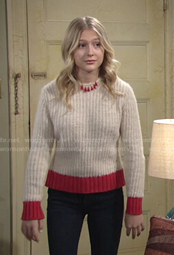 Faith's beige and red trim sweater on The Young and the Restless