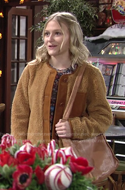 Faith's tan sherpa jacket on The Young and the Restless