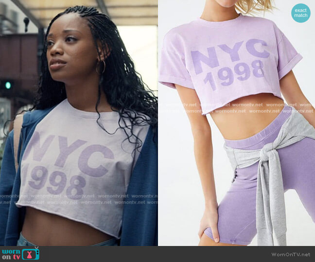 Forever 21 Active NYC Graphic Tee worn by Neveah Stroyer (Kylie Jefferson) on Tiny Pretty Things