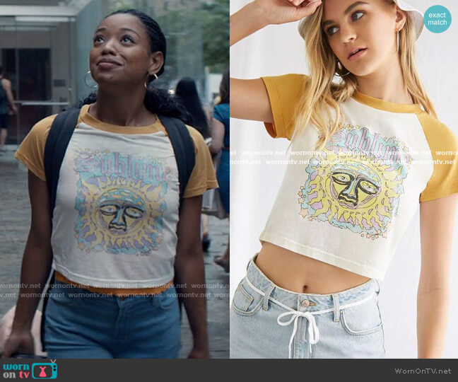 Forever 21 Sublime Graphic Baseball Tee worn by Neveah Stroyer (Kylie Jefferson) on Tiny Pretty Things